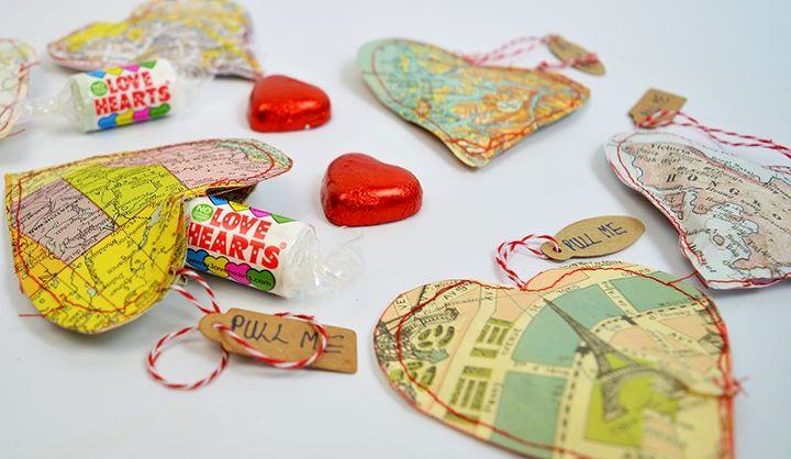 upcycle old maps into personalised heart treat bags for valentines, crafts, repurposing upcycling, seasonal holiday decor, valentines day ideas
