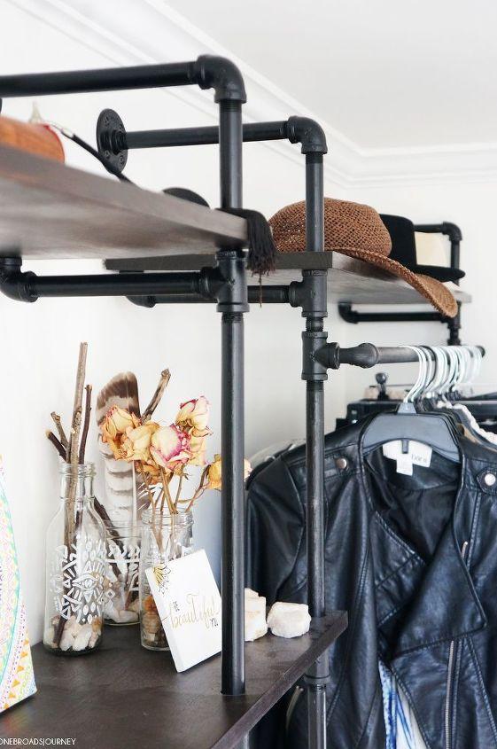 diy full wall industrial piping shelves, repurposing upcycling, shelving ideas