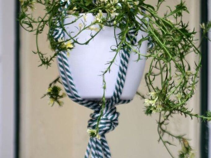 diy chunky rope pot plant hanger, container gardening, gardening, how to