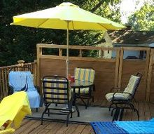 updating deck furniture diylikeaboss, outdoor furniture, painted furniture, Painted patio set and rug