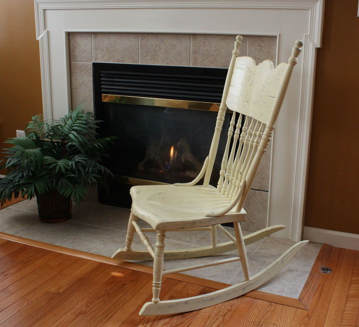 antique pressed back rocking chair, chalk paint, painted furniture
