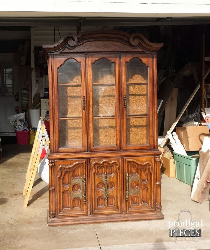 Update Those Outdated China Cabinets With Wallpaper Chalk Paint Painted Furniture Repurposing Upcycling