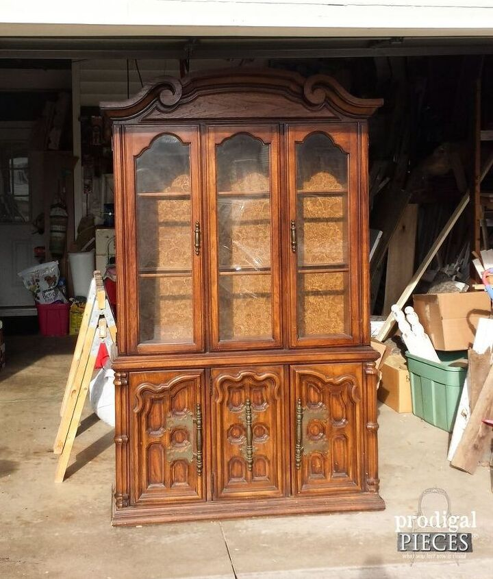 update those outdated china cabinets with wallpaper, chalk paint, painted furniture, repurposing upcycling