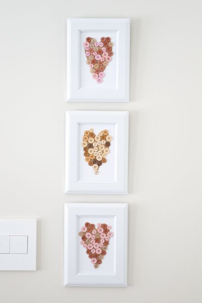 home decor with kids button hearts, crafts, seasonal holiday decor, valentines day ideas, wall decor