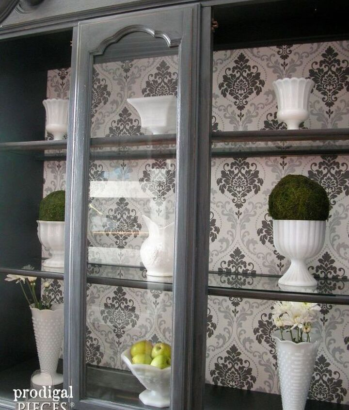 Update Those Outdated China Cabinets With Wallpaper Hometalk