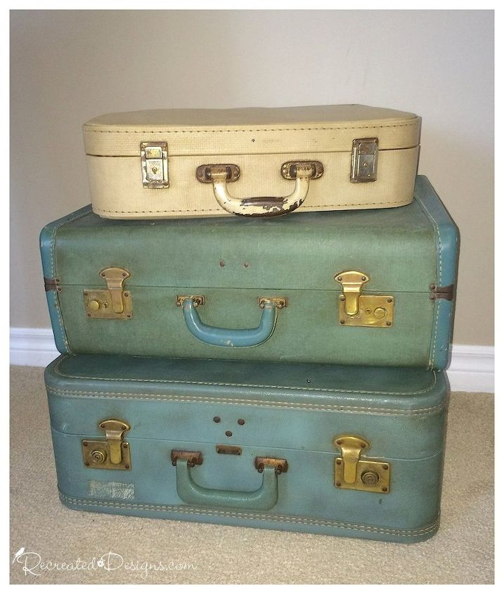 Vintage suitcase side table hometalk - Vintage suitcase ...