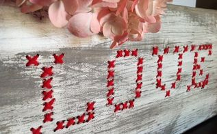 cross stitched wood love sign, chalk paint, crafts, seasonal holiday decor, valentines day ideas
