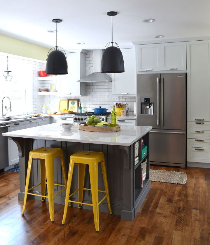 White With Pops Of Color Kitchen Makeover Diy Backsplash Cabinets