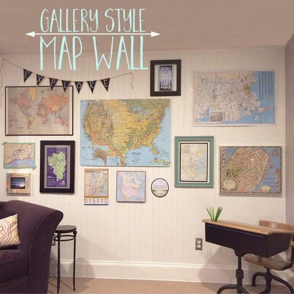 Gallery Map Wall Repurposing Upcycling Decor