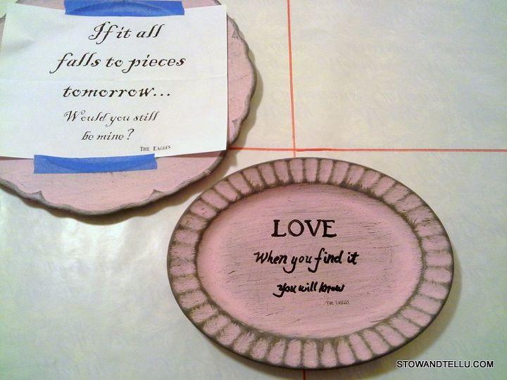 valentine message painted plates, crafts, seasonal holiday decor, valentines day ideas