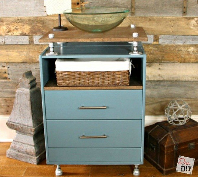 s we couldn t believe these started as ikea rasts, painted furniture, repurposing upcycling, An Industrial Vanity Sink
