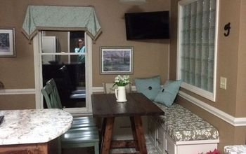 banquette bench seating before during and after, diy, kitchen design, reupholster, View With Peninsula