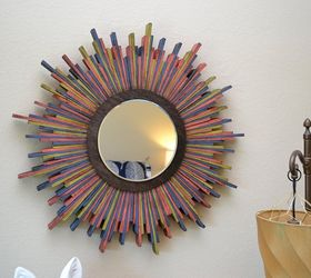Wood Shim Starburst Wall Mirror, Crafts, How To, Repurposing Upcycling, Wall  Decor