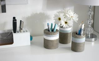 concrete vases from tin cans, concrete masonry, container gardening, diy, repurposing upcycling