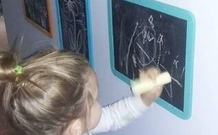 kids art on the wall always changing, chalkboard paint, crafts, wall decor