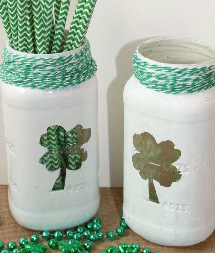 s 18 magical ways to update your plain jane stuff using graphics, home decor, repurposing upcycling, Make some sham rocking mason jars