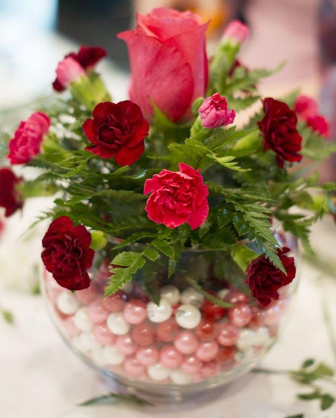 diy bubblegum bowl valentine centerpiece, flowers, seasonal holiday decor, valentines day ideas