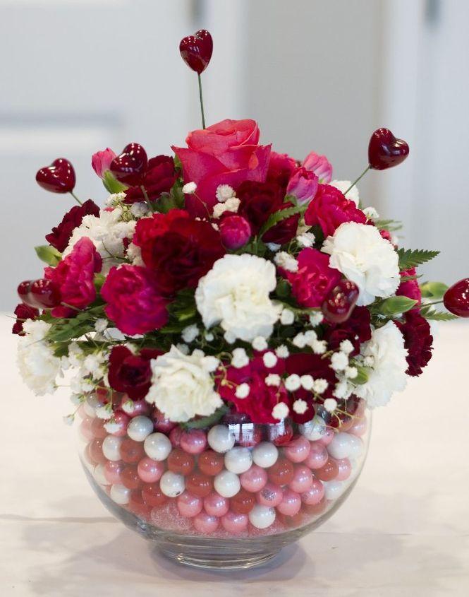 diy bubblegum bowl valentine centerpiece flowers seasonal holiday decor valentines day ideas