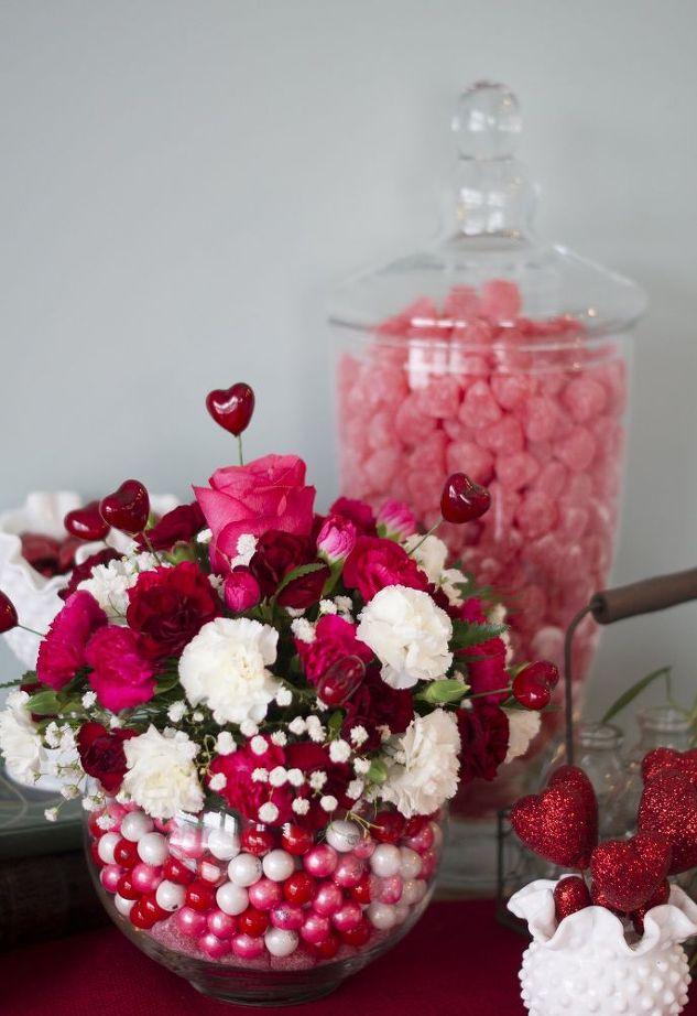 Diy bubblegum bowl valentine centerpiece hometalk