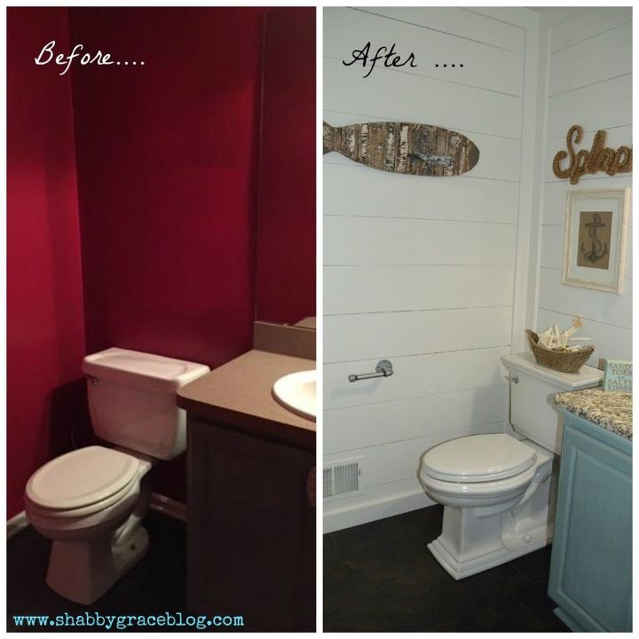 from red and dark to white and bright bathroom makeover bathroom ideas diy