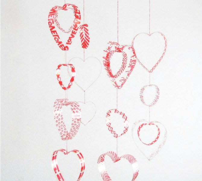 s 21 romantic heart decorations you might want to leave up all year, valentines day ideas, wall decor, Cut plastic bottles into a mobile
