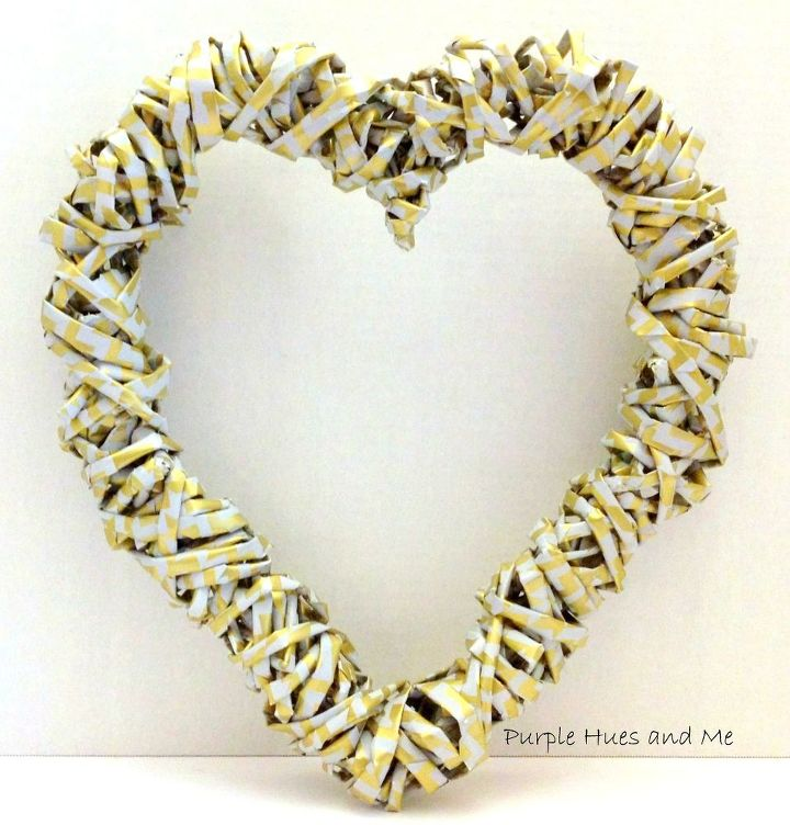 s 21 romantic heart decorations you might want to leave up all year, valentines day ideas, wall decor, Weave wrapping paper into a metallic wreath