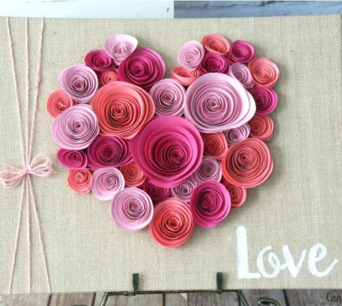 s 21 romantic heart decorations you might want to leave up all year, valentines day ideas, wall decor, Roll craft paper into a flowery design