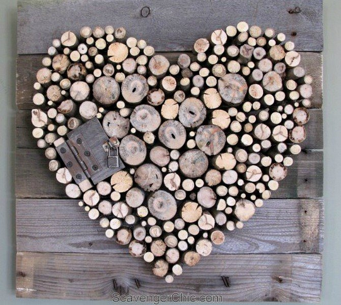 21 romantic heart decorations you might want to leave up for Wooden heart wall decor
