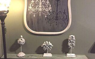 repurposed harp mirror frame into chandelier art, crafts, wall decor