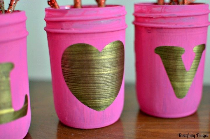 shabby chic love mason jars, crafts, mason jars, seasonal holiday decor, shabby chic, valentines day ideas