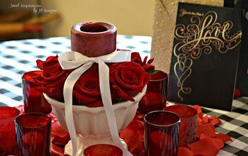 A Valentine's Day Tablescape & Romantic Heart Centerpiece of Red Roses