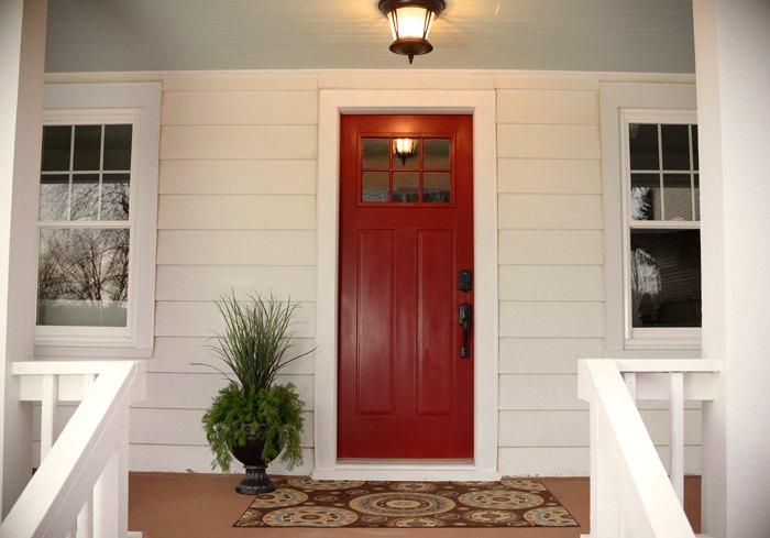 New Red Front Door At The Flip House Hometalk