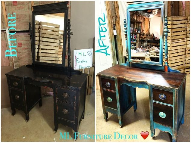 antique vanity refinishing a 35 garage sale find, chalk paint, painted  furniture, Before - Antique Vanity Refinishing..A $35 Garage Sale Find! Hometalk