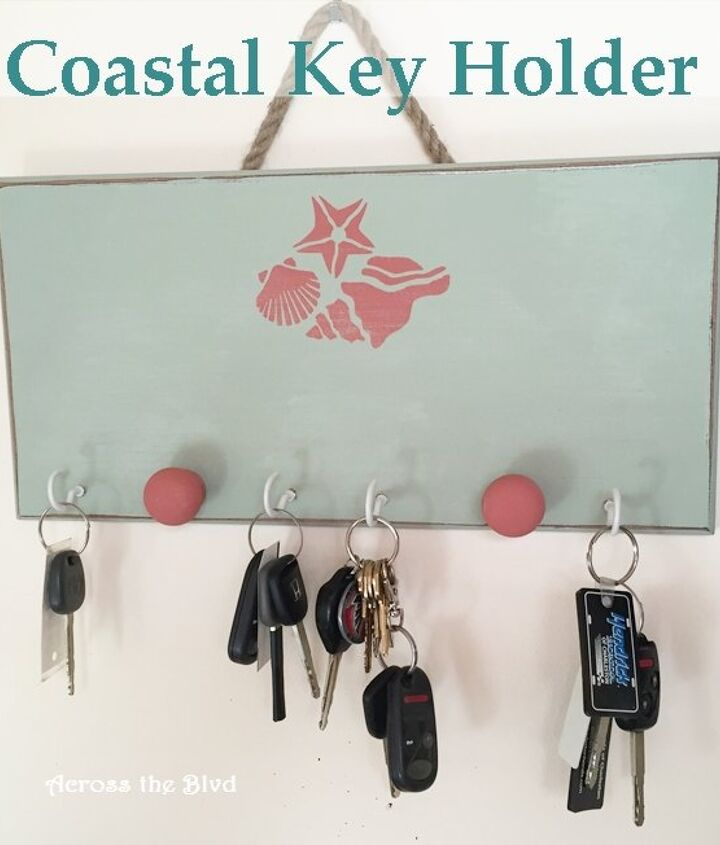 key holder with coastal flair, chalk paint, crafts, organizing, wall decor