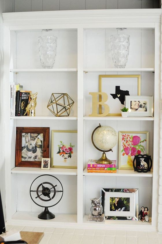 how 10 and 1 hour can transform your boring white bookcase, painted furniture, shelving ideas
