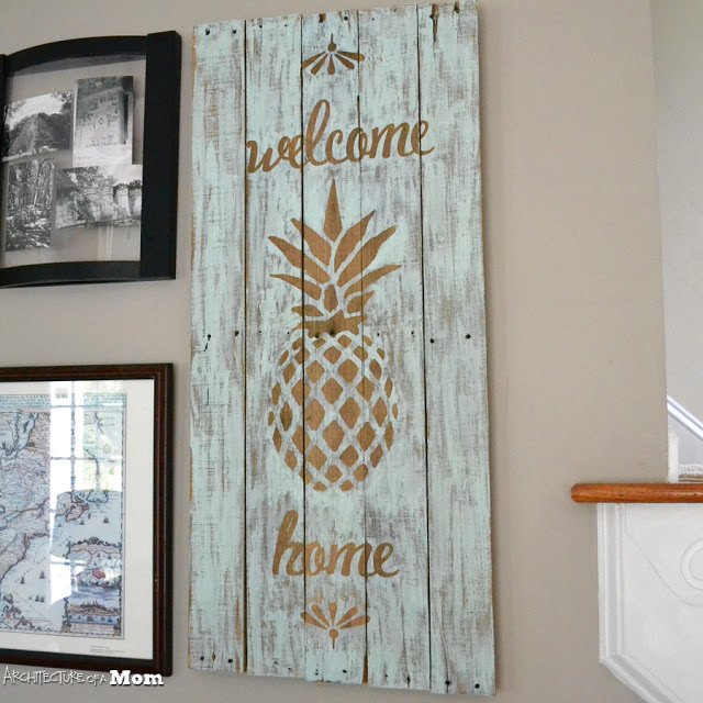 wooden pineapple welcome art, crafts, pallet