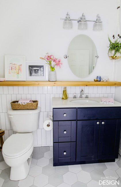 modern makeover transforms simple bathroom, bathroom ideas, home decor, painted furniture, tiling
