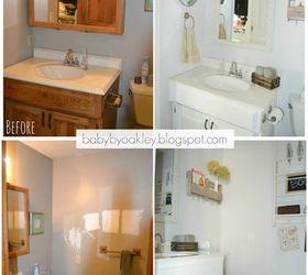 Diy Half Bathroom Redo, Bathroom Ideas, Diy, Painted Furniture, Painting
