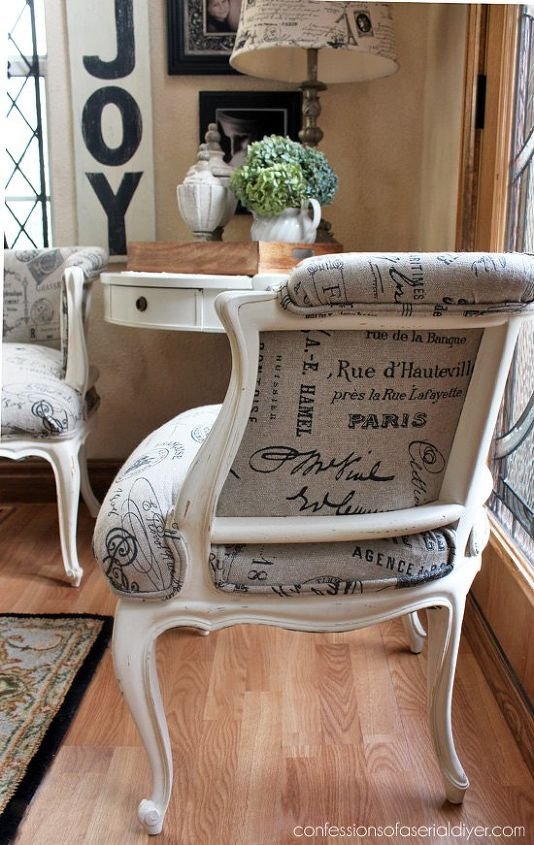 french provincial chair makeover, chalk paint, painted furniture, reupholster