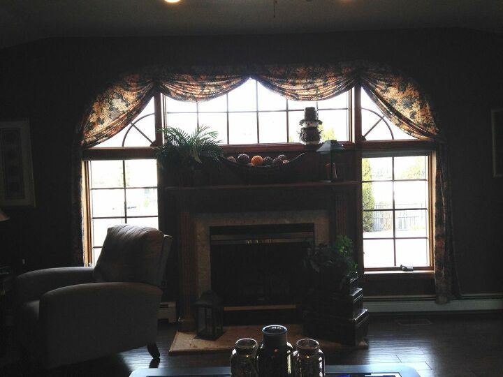 q help i m looking for a way to decorate a difficult window, window treatments, windows, Looking for new ideas for this hard to dress wall of windows Thinking cornice and draperies that sit stationary on the wall