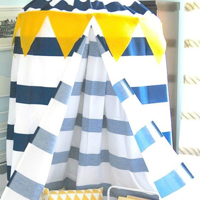 s the 12 brilliant hacks every mom should know, home decor, repurposing upcycling, Make instant fun with a shower curtain canopy