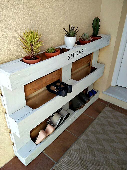 s the 12 brilliant hacks every mom should know, home decor, repurposing upcycling, Banish that messy shoe pile with a pallet