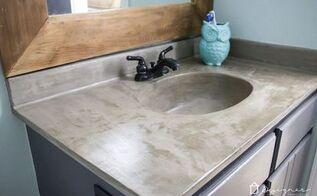 20 diy concrete vanity 18 months later, bathroom ideas, concrete masonry, countertops, diy