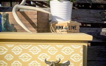 Yellow Longhorn Dresser - Before & After
