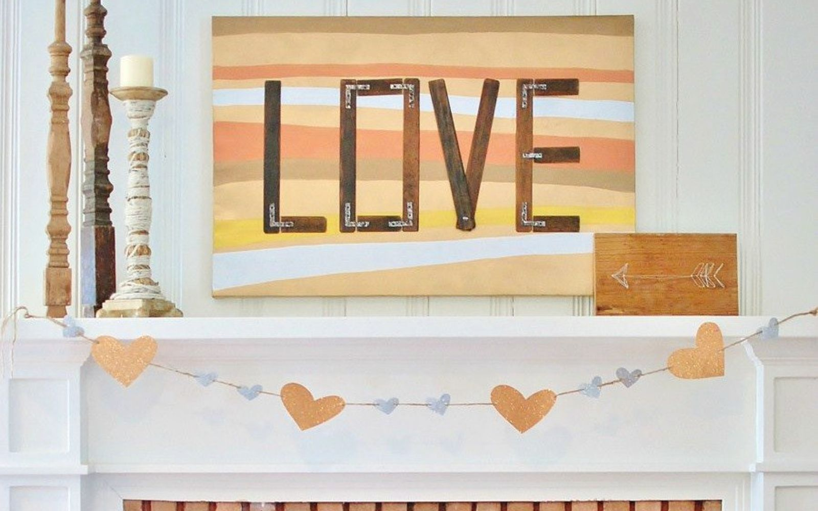 s how 13 dumpster divers decorate for valentine s day, repurposing upcycling, seasonal holiday decor, valentines day ideas, Mixed Metal Mantel Art from an Old Shutter
