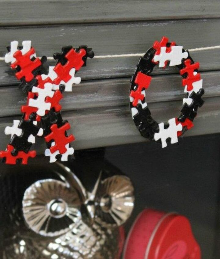 s how 13 dumpster divers decorate for valentine s day, repurposing upcycling, seasonal holiday decor, valentines day ideas, XO Garland from Puzzle Pieces