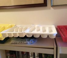 q plastic cutlery trays, organizing, repurpose household items, repurposing upcycling