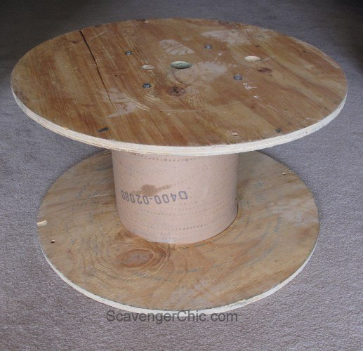 upcycled wire spool ottoman, diy, repurposing upcycling, reupholster