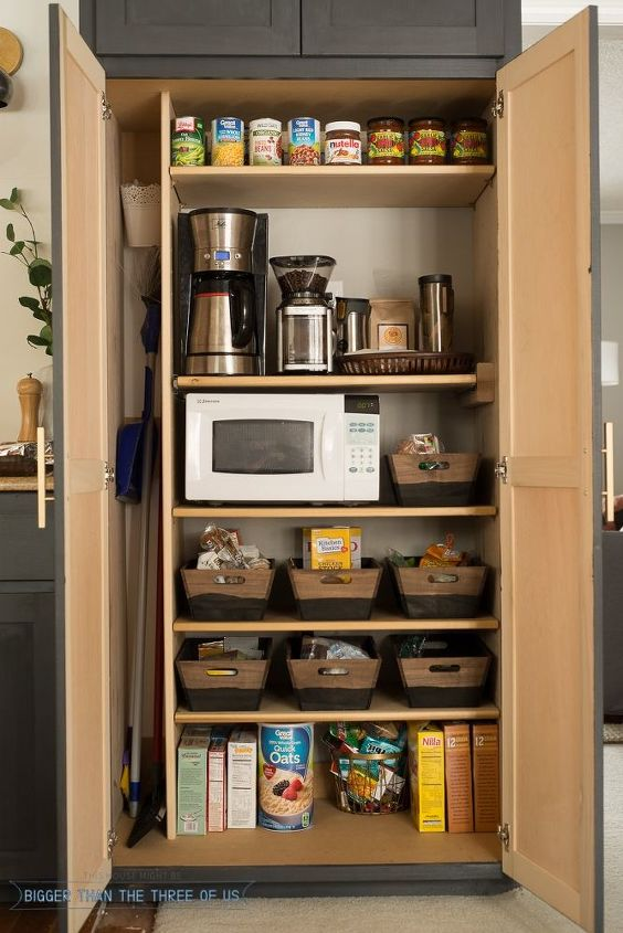 how to create a coffee station within a small pantry, kitchen cabinets, kitchen design, organizing