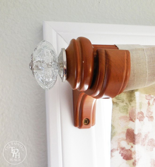 how to makeover your curtain rod with drawer pulls, repurposing upcycling, window treatments, windows
